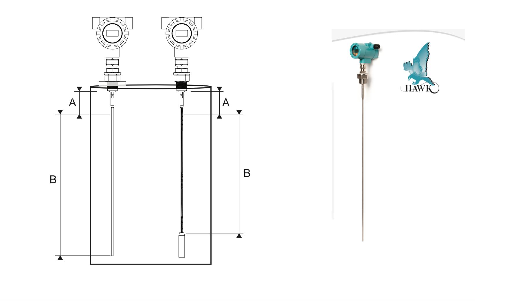 Cảm biến radar đo mức tiếp xúc dùng nhiệt độ cao
