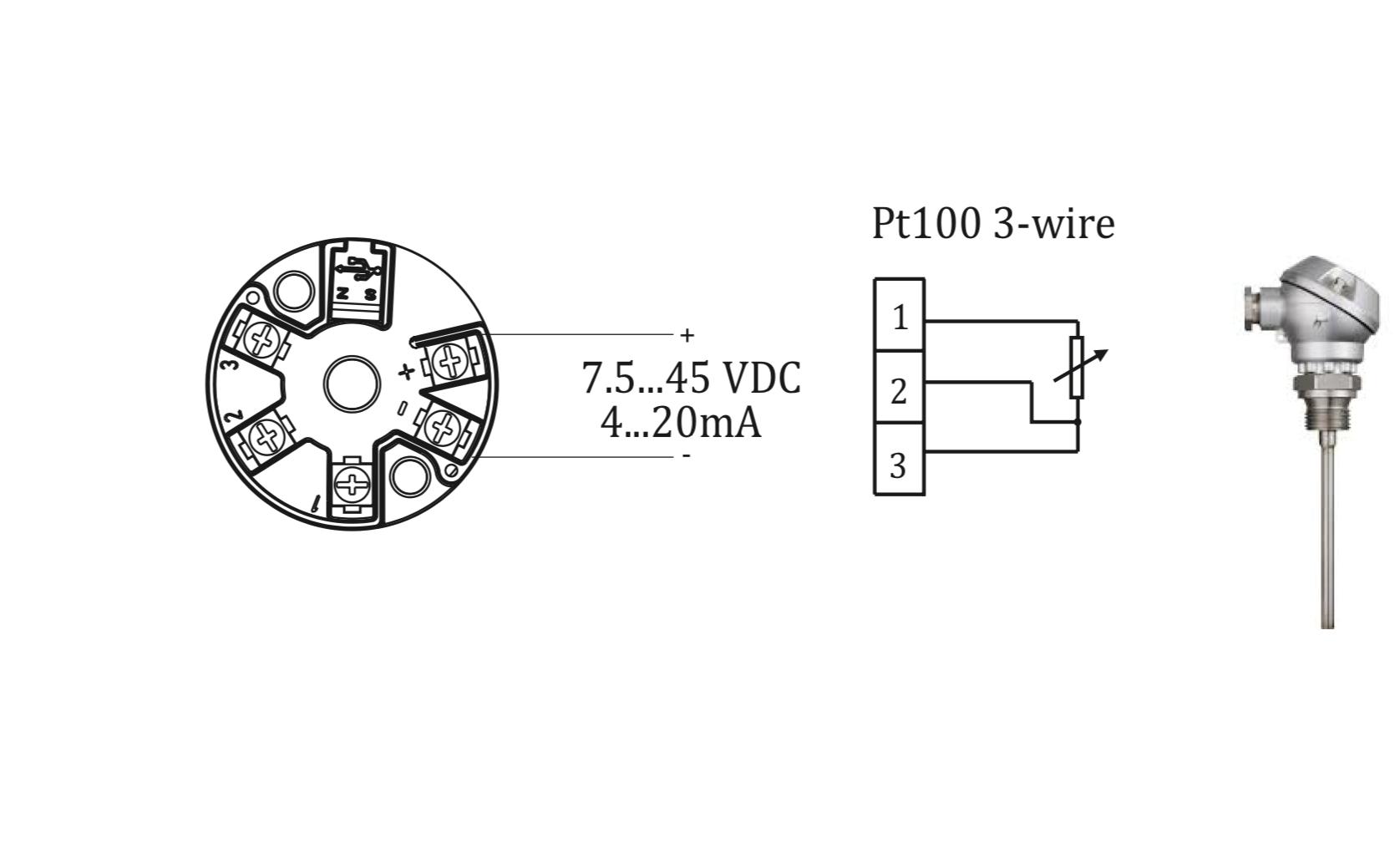 Sơ đồ đấu Pt100 với MST110