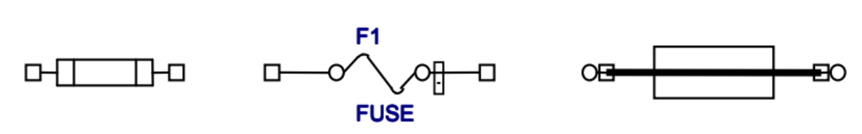 Các ký hiệu của cầu chì thường dùng